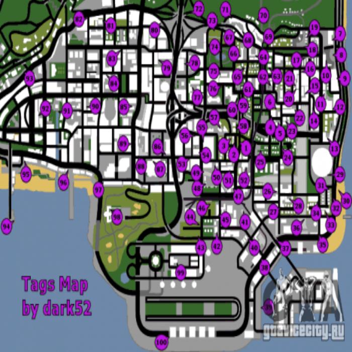 как узнать на карте гта санандерес где уже зарисованы графитти